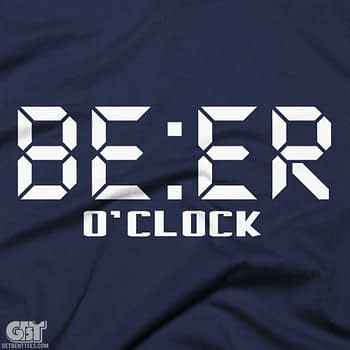 Funny Drinking Shirts beer oclock white print