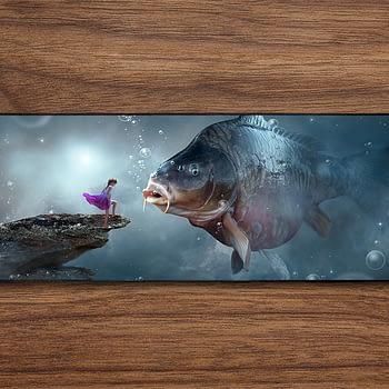 woman fish PC Gaming Mat PC Gaming Mouse Pad