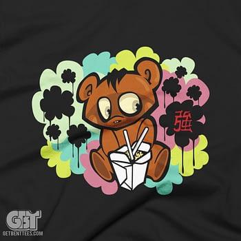 FUNNY BEAR TSHIRT EATING SUSHI