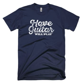 have guitar will play guitar player t-shirt navy