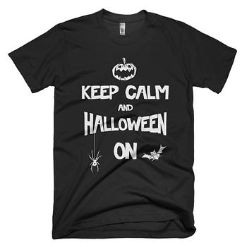 black-keep-calm-and--halloween-on halloween t-shirt